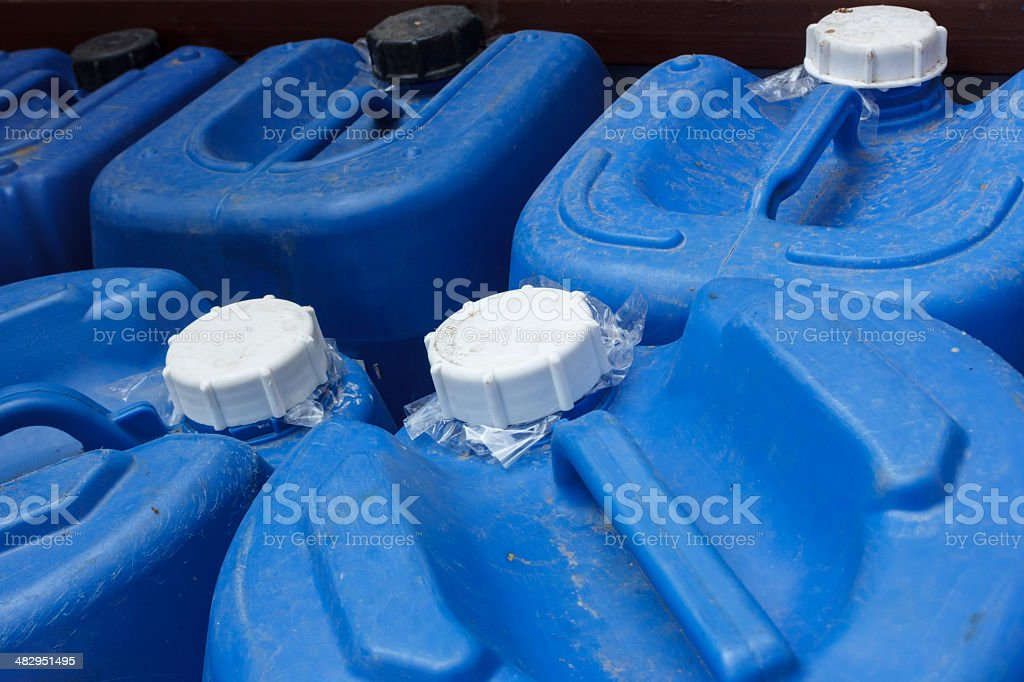 Lid of blue chemical plastic stock photo