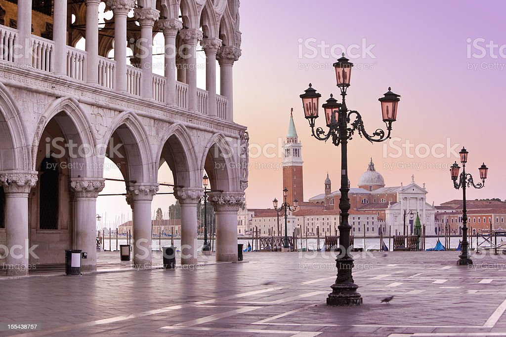 Lido and St Marks Square Venice Italy in the morning stock photo