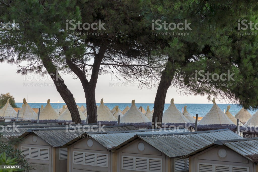 Lido resort sea beach huts, Venice, Italy. stock photo