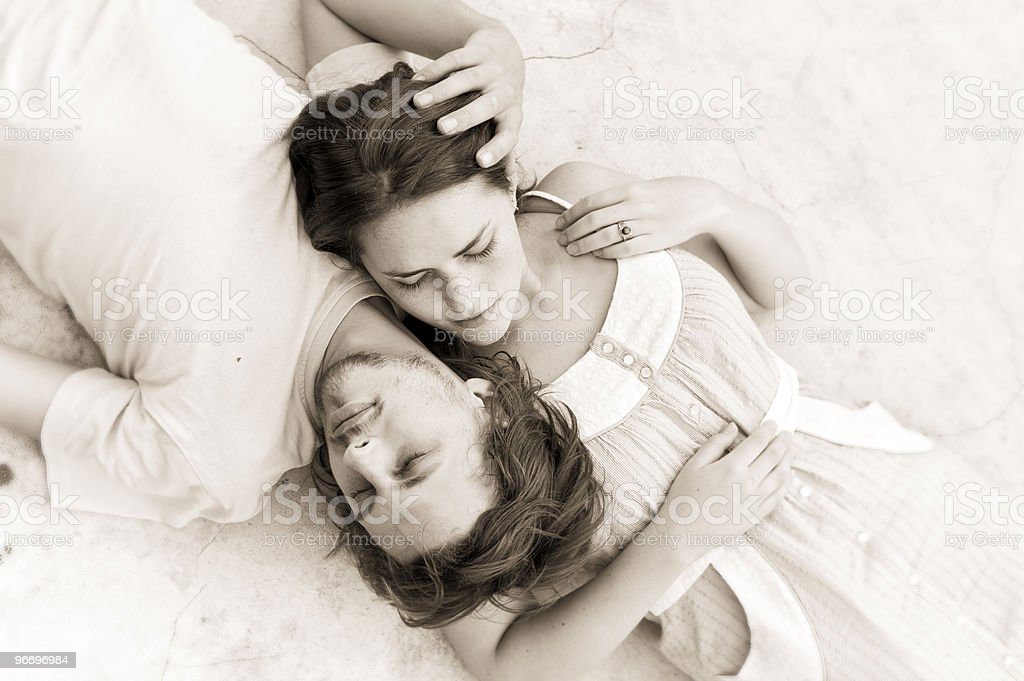 Lie with me sweetheart he says royalty-free stock photo