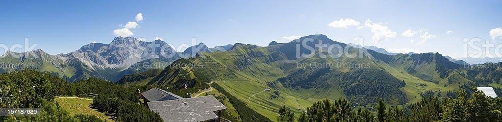 Liechtenstein Alps panorama, viewed from the Sareiserjoch summit stock photo