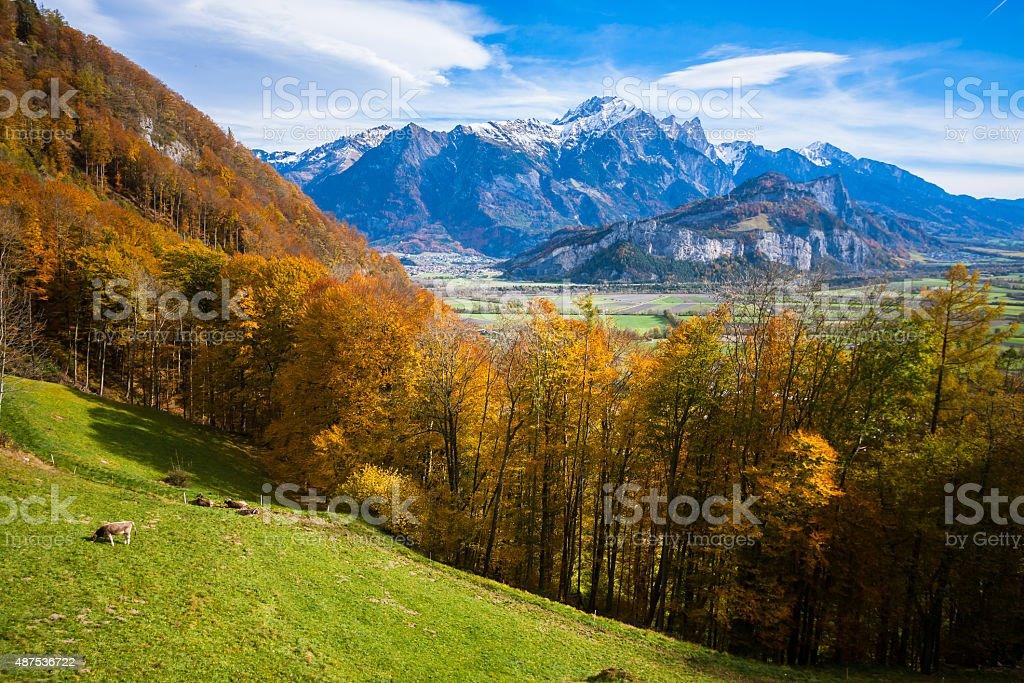 Liechtenstein Alps viewed from Switzerland stock photo