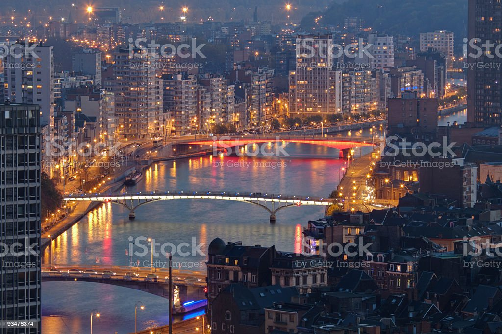 Liege at night stock photo
