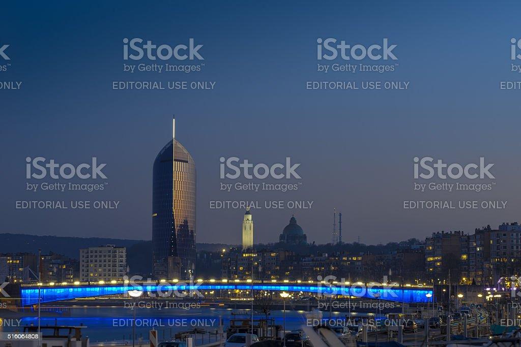 Liege city stock photo
