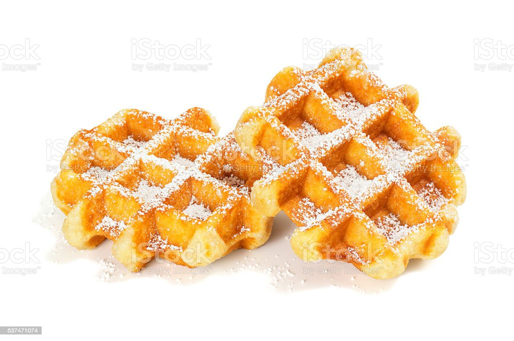 Liege Style Belgian Waffles with Powdered Sugar on White Background stock photo