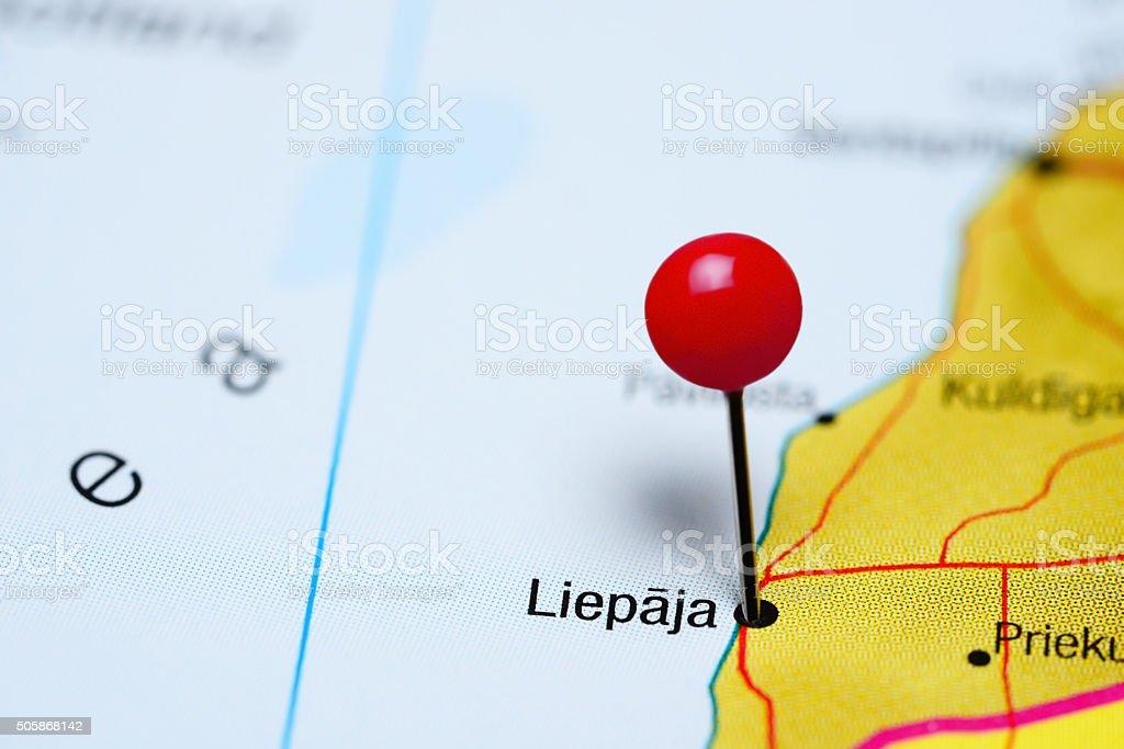 Liepaja pinned on a map of Latvia stock photo