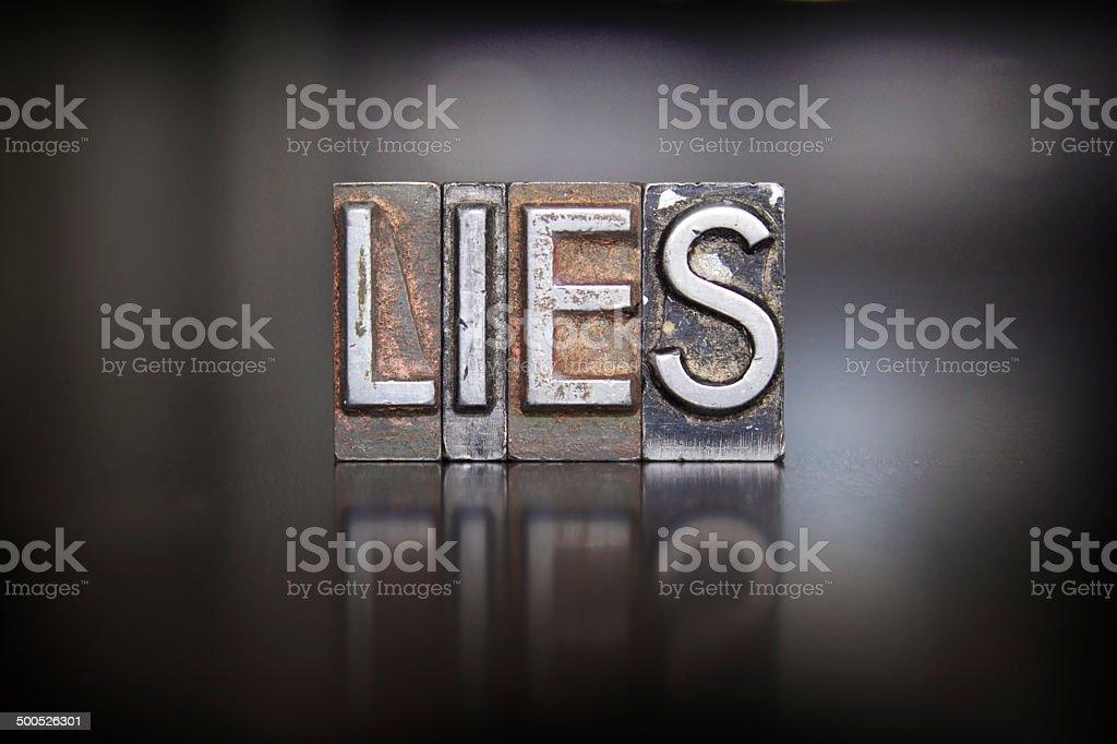 Lies Letterpress stock photo