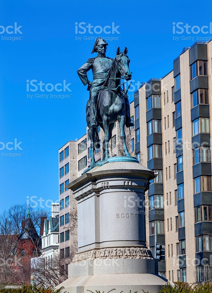 Lieutenant General Winfield Scott Statue Scott Circle Washington DC stock photo