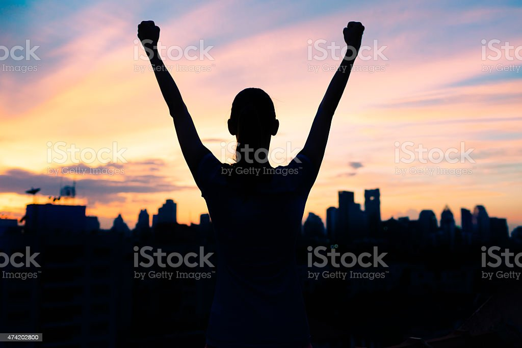 Life achievement, success and sport concept stock photo
