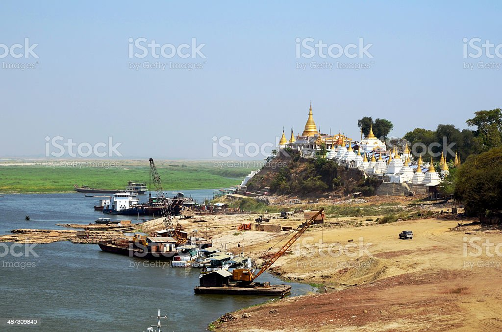 Life and Transportation in Ayeyarwaddy River Near Sagaing Hill. stock photo
