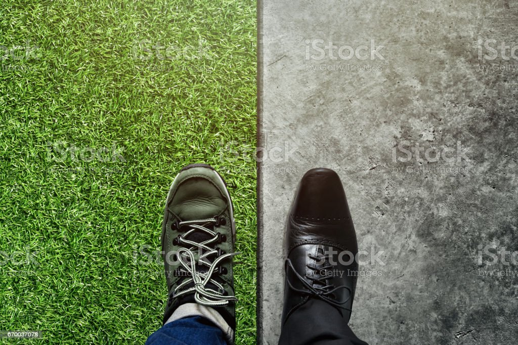 Life Balance concept for Work and Travel in top view stock photo