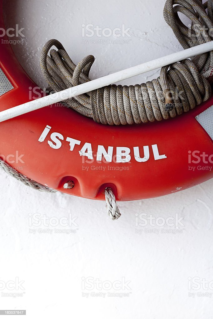 Life belt and rope on nautical vessel stock photo