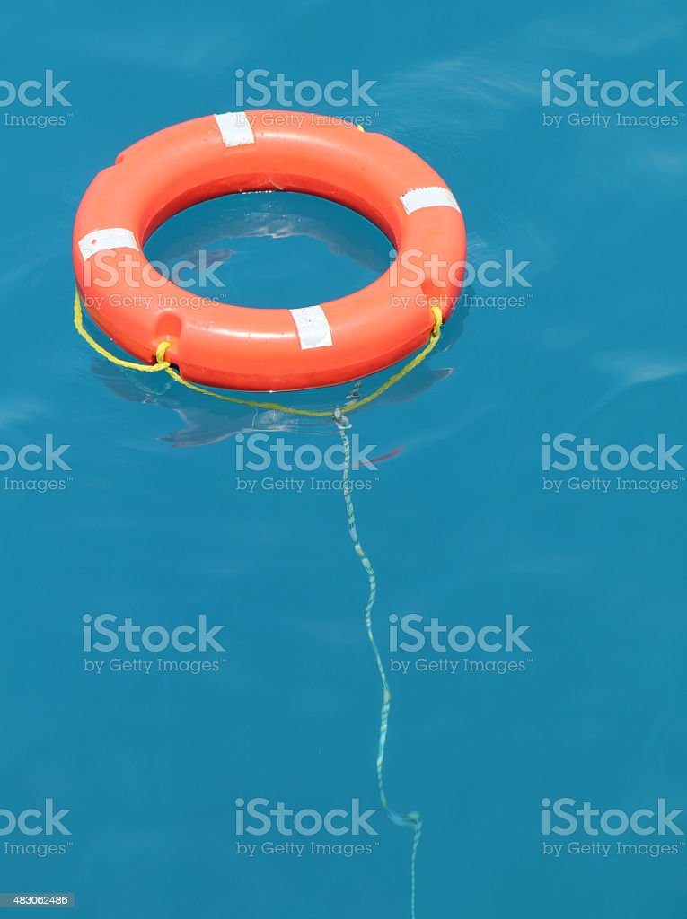 life belt in the sea stock photo