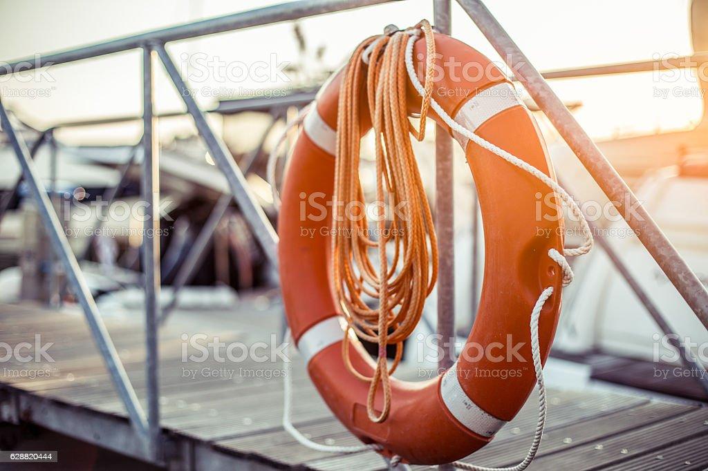 life belt - life ring in pier stock photo