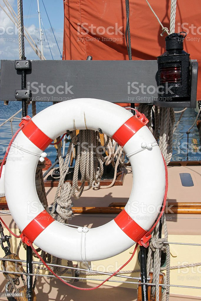 life belt on a tradition boat stock photo