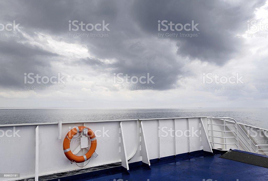 Life belt on board of passenger ship (XL) royalty-free stock photo