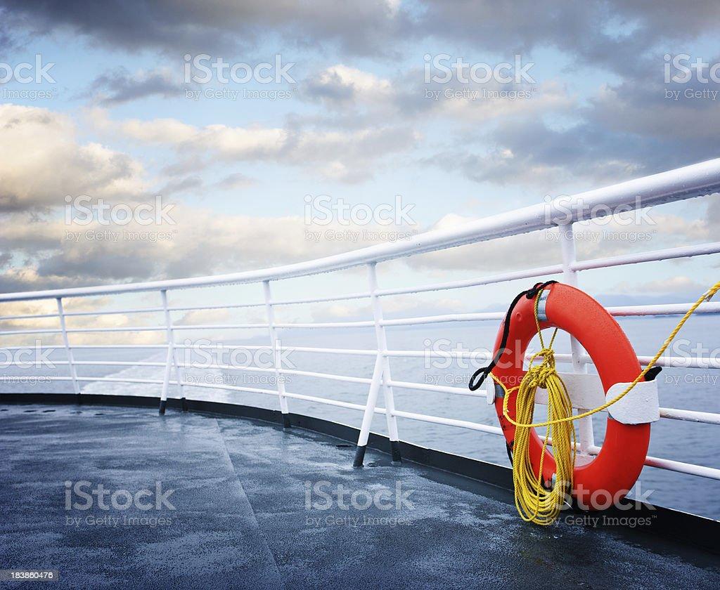 life belt on deck stock photo