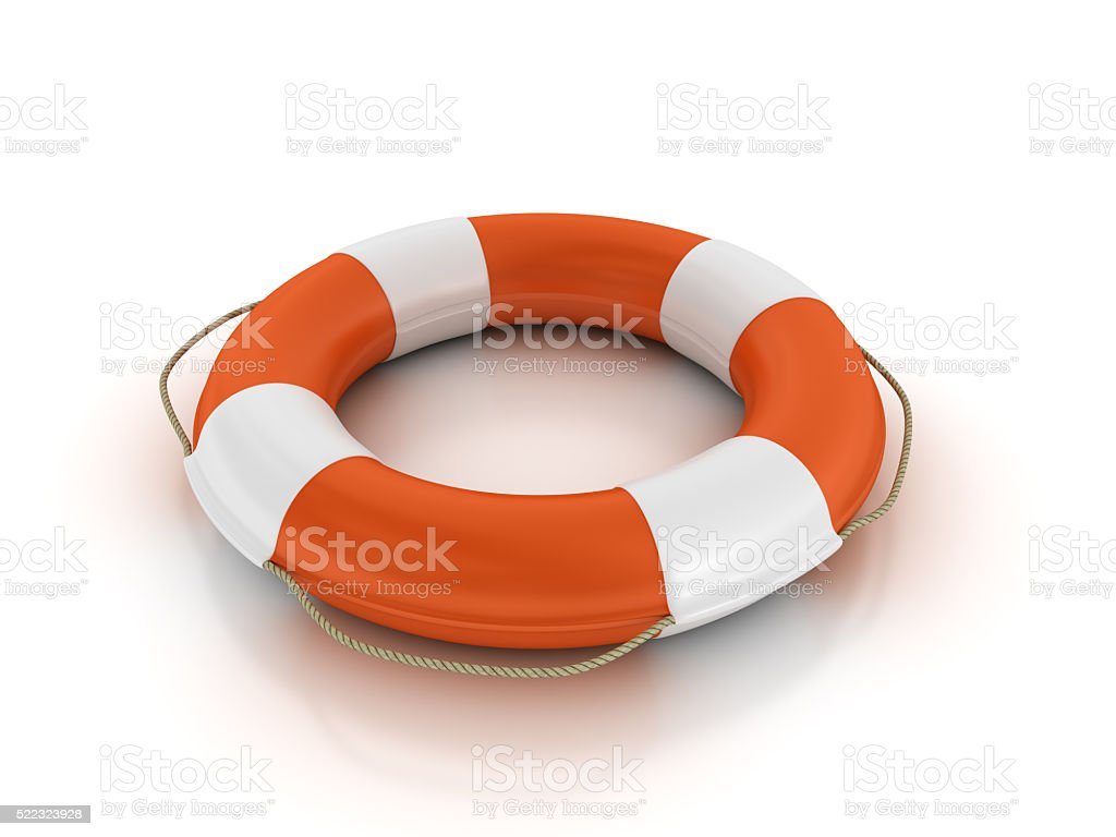 Life Belt on White Background stock photo