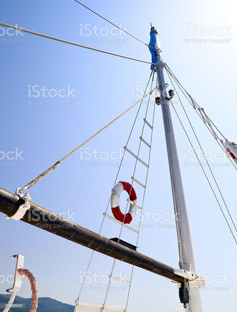 Life belt on yacht stock photo
