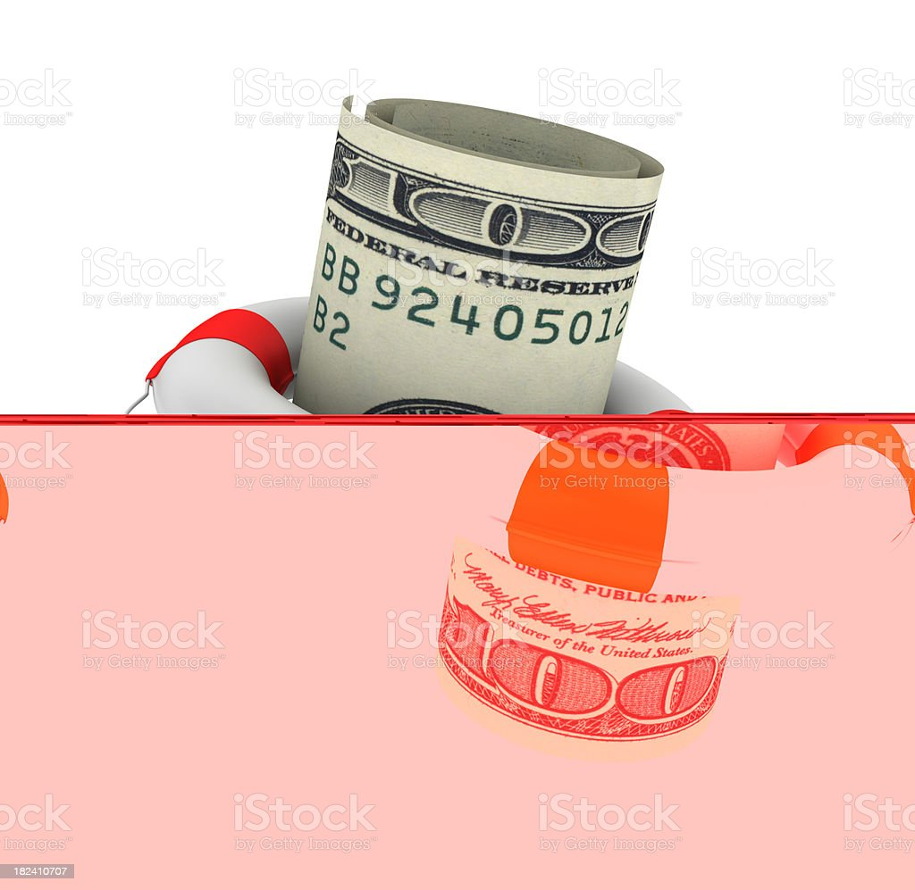 Life Belt with Dollar Bills royalty-free stock photo