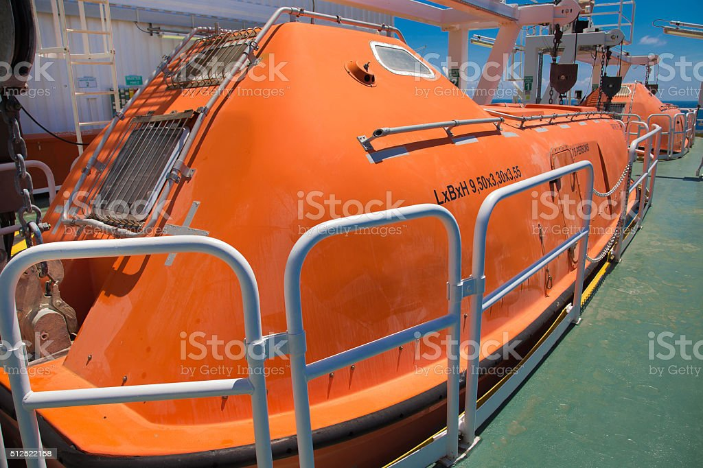Life Boat  emergency use escape in oil and gas industry stock photo
