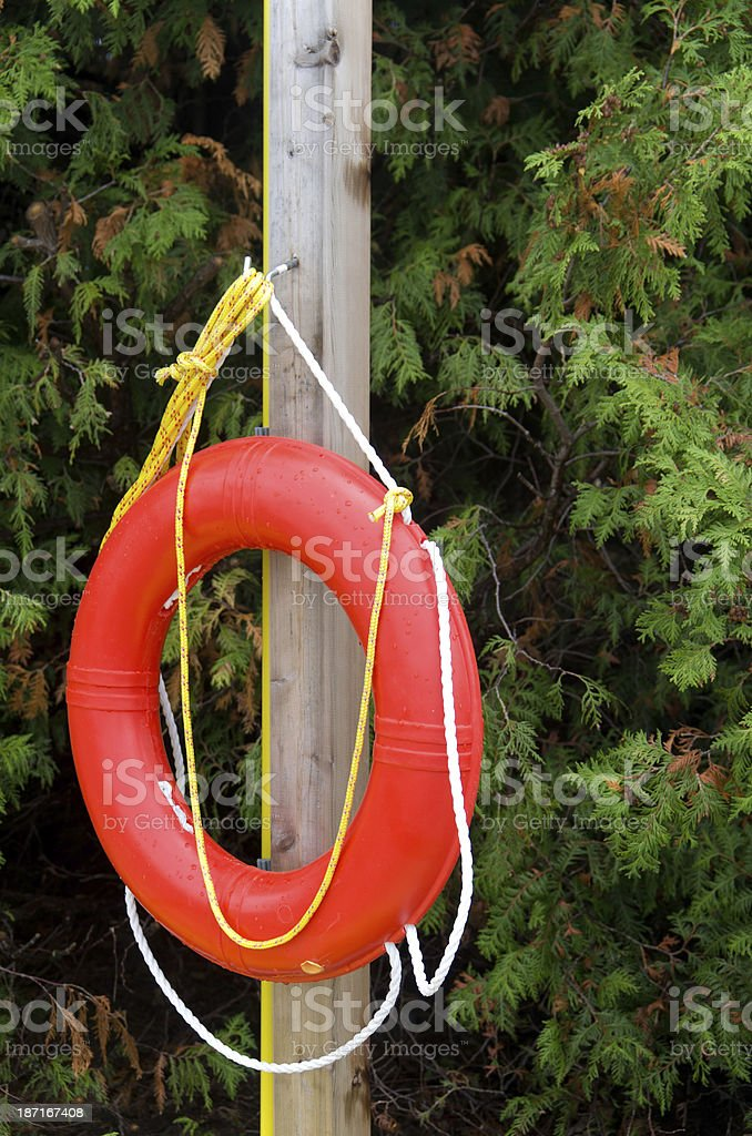 Life Buoy and Rope on Post royalty-free stock photo