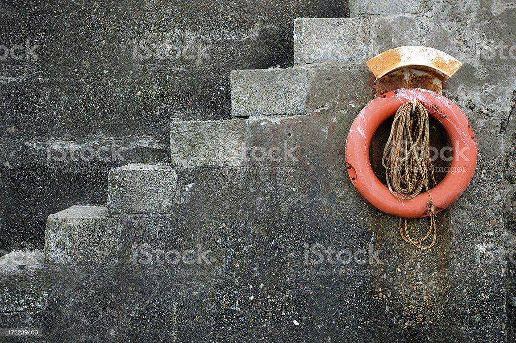Life Buoy Hanging on a Wall royalty-free stock photo