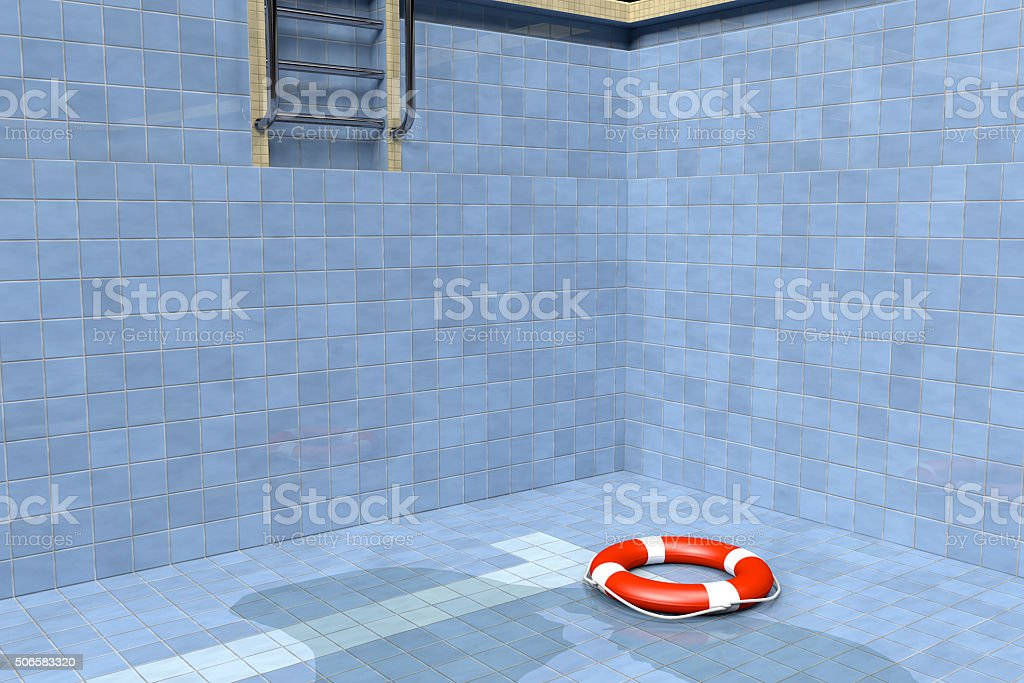 Life Buoy in an Empty Swimming Pool stock photo