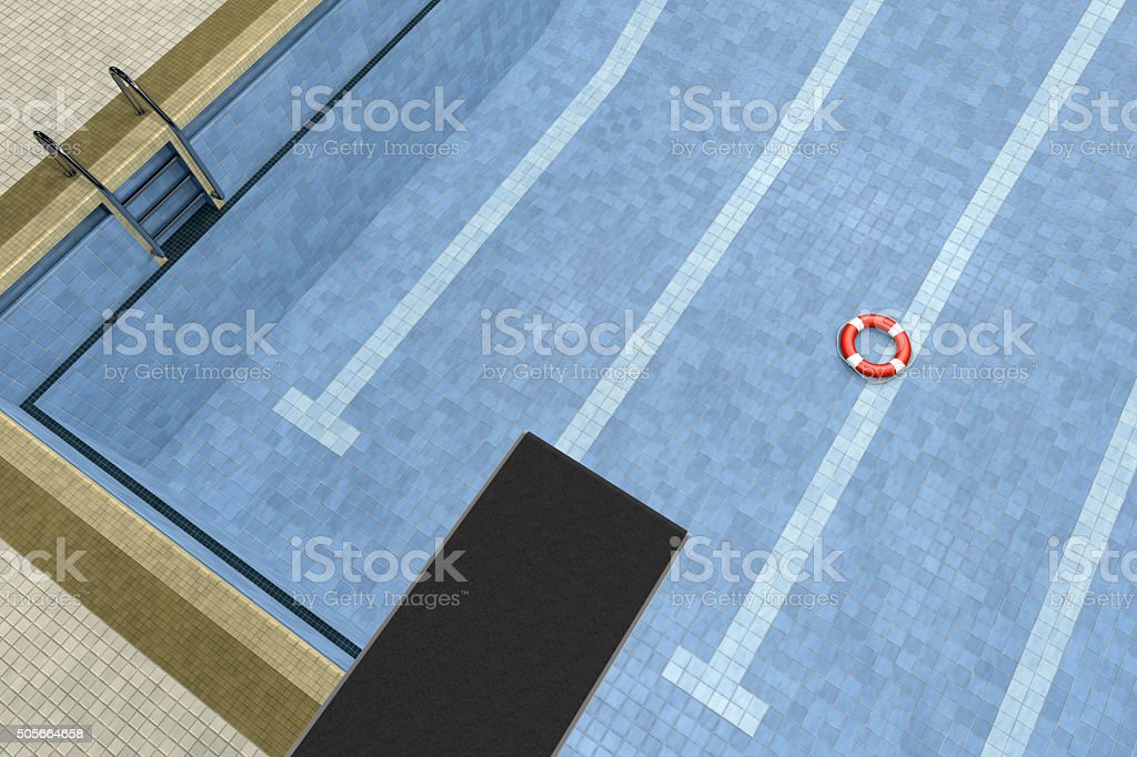 Life Buoy in an Empty Swimming Pool with Springboard stock photo