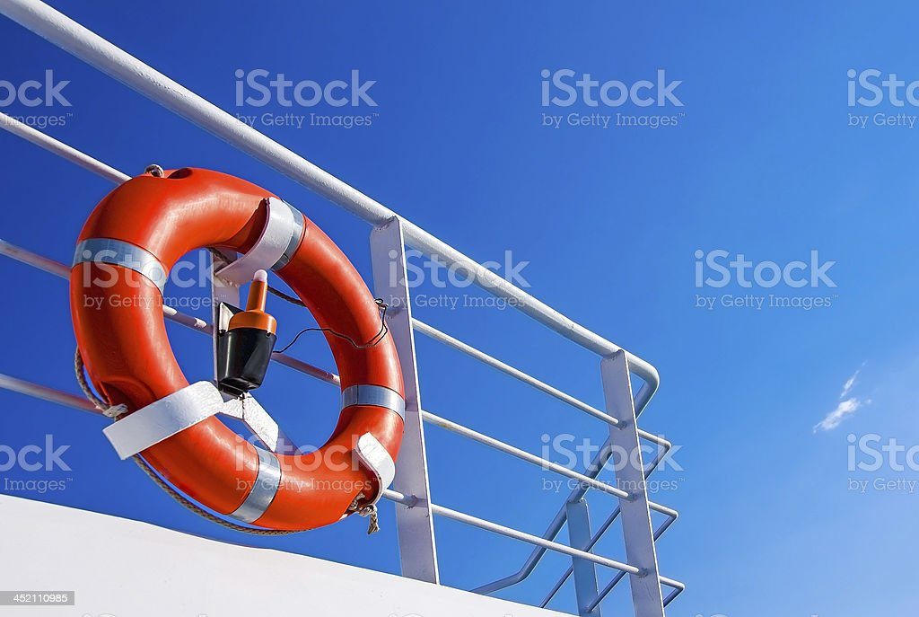 Life buoy on deck stock photo