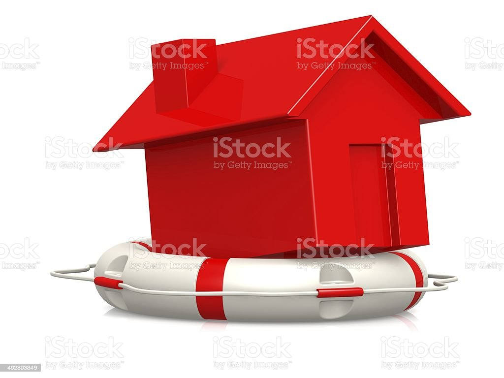 Life buoy with red house royalty-free stock photo