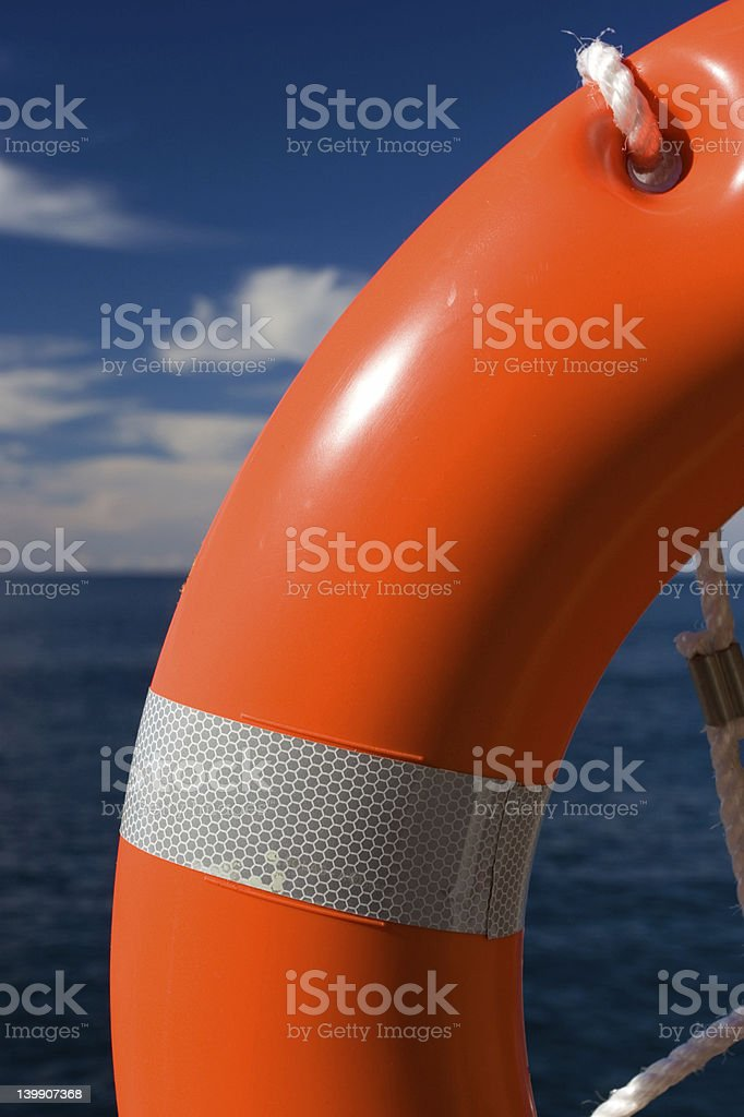 Life buoy with sun highlight royalty-free stock photo