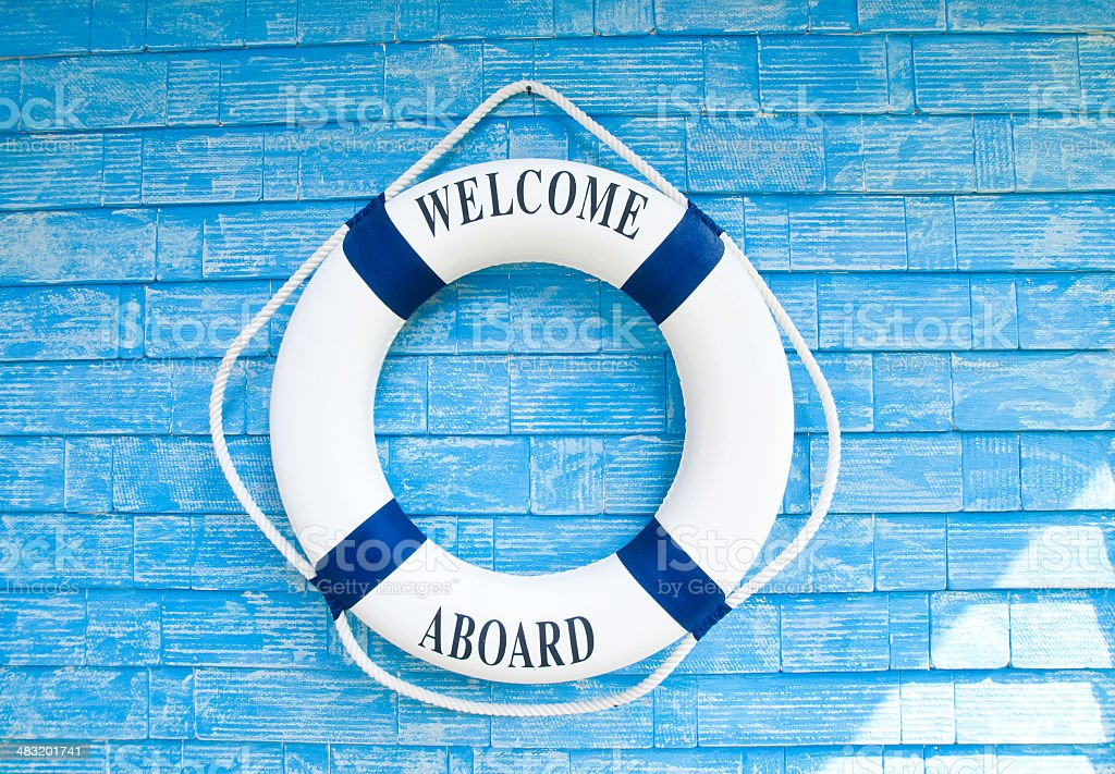 Life buoy with welcome aboard on it stock photo