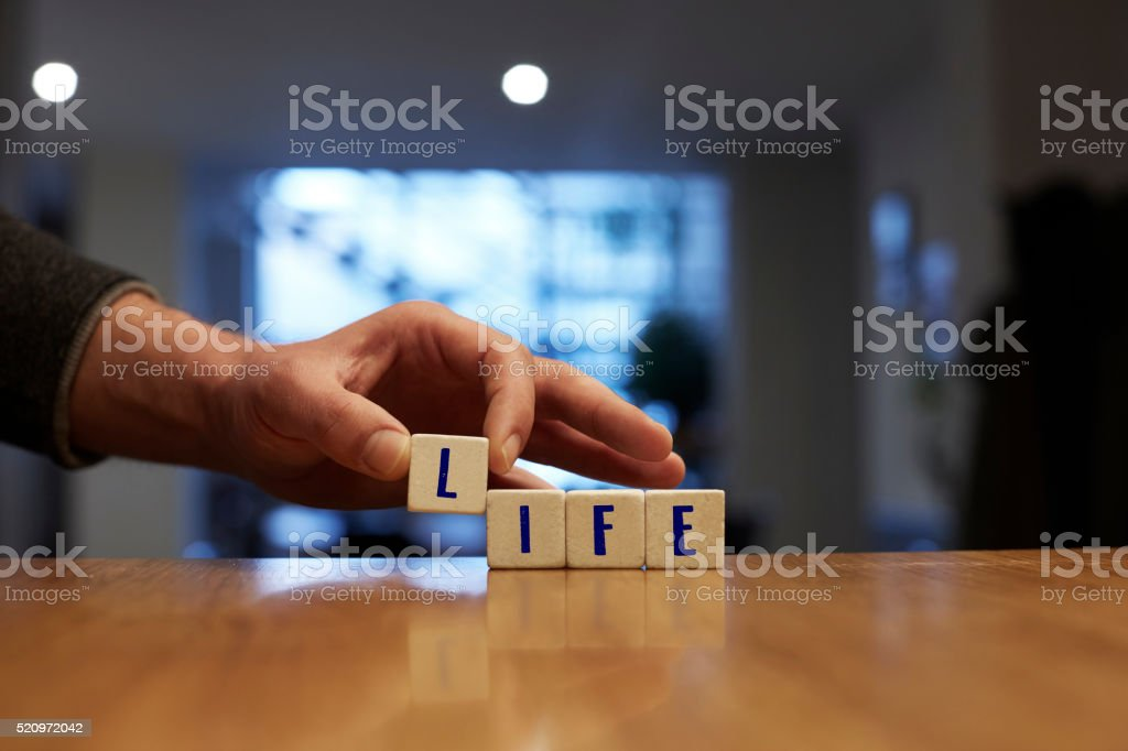 Life Concept with Alphabet Blocks stock photo