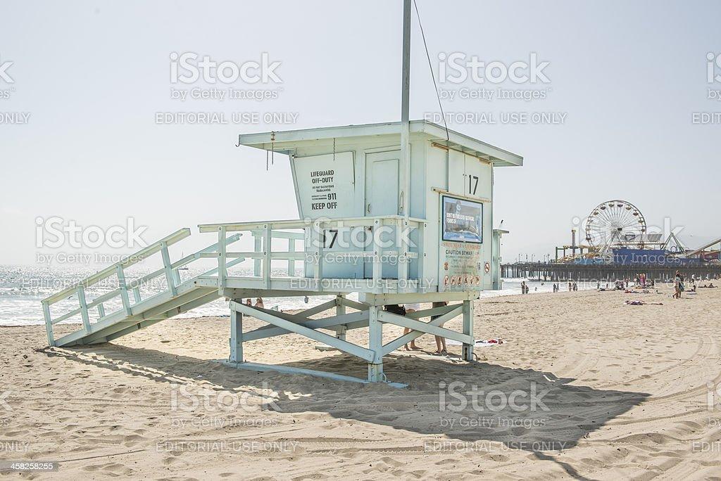 Life guard station near Santa Monica Pier royalty-free stock photo