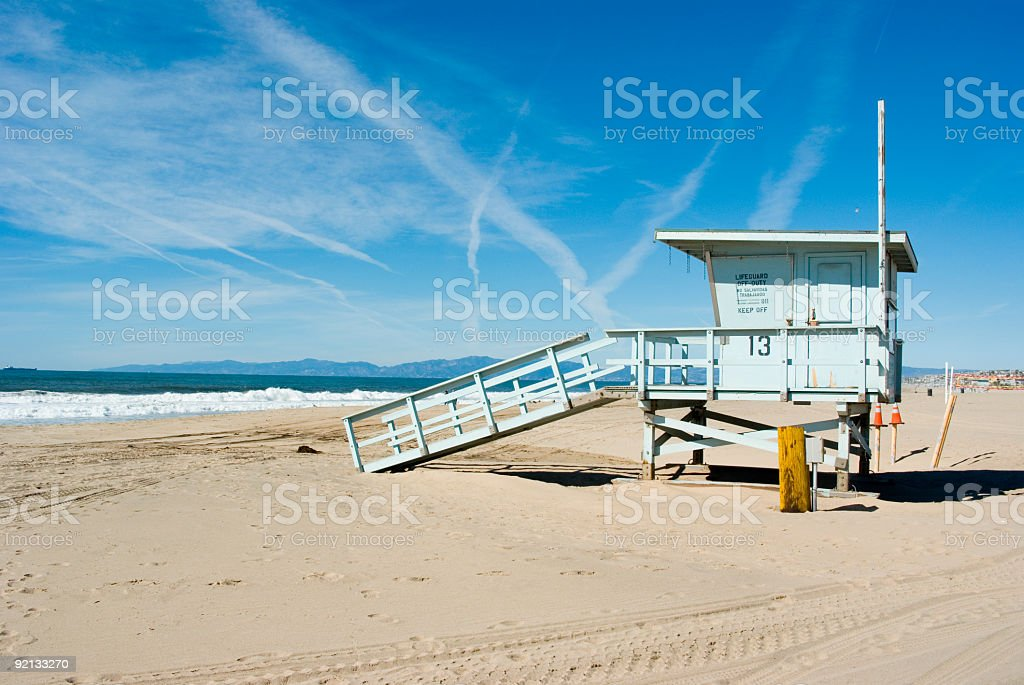 Life Guard Station on the Beach stock photo