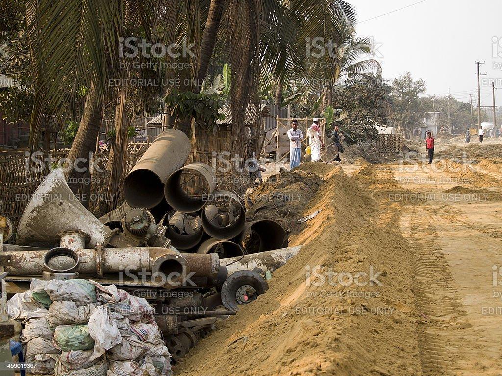 Life in the bangladesh ship breaking yards stock photo