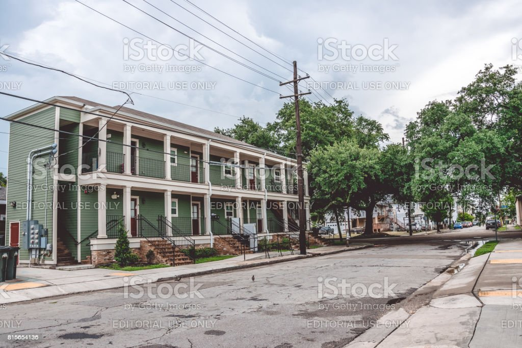 Life in the old poor neighborhood of New Orleans. Old wooden houses in colonial style stock photo