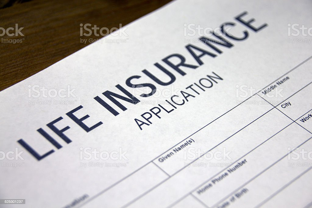 Life insurance application form stock photo