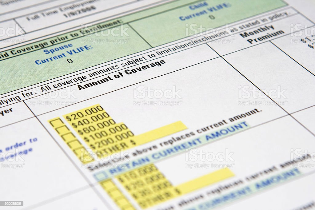 Life Insurance Enrollment Form royalty-free stock photo
