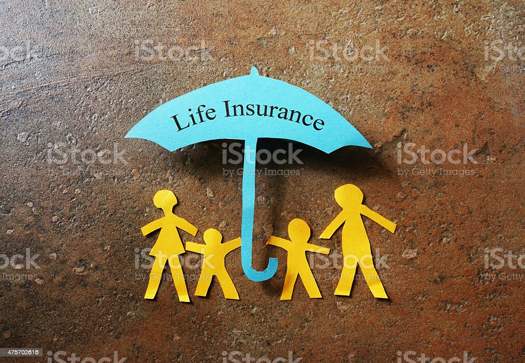 Life Insurance paper family stock photo