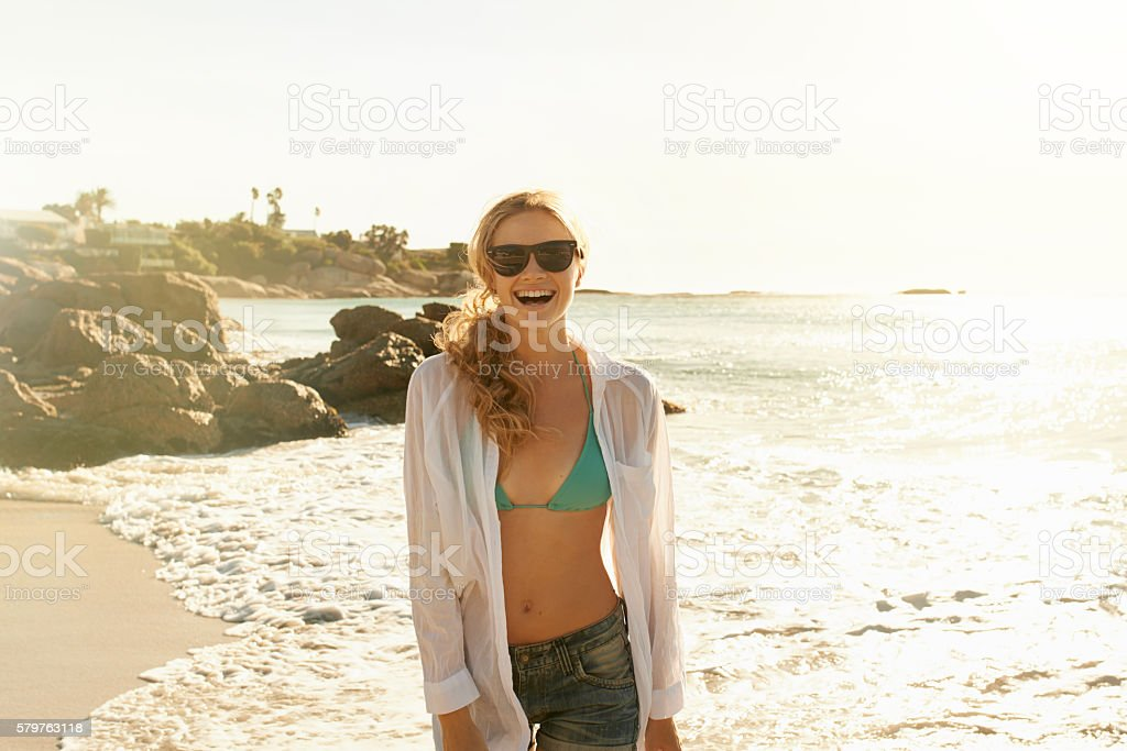 Life is better at the beach, isn't it? stock photo