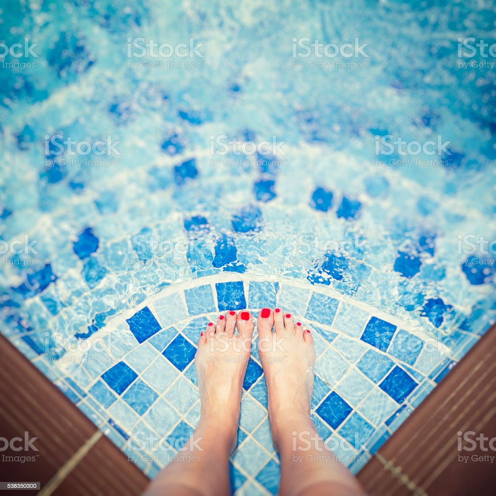 Life is better at the pool stock photo