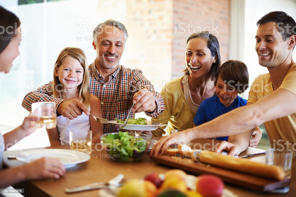 Life is made by food and family stock photo