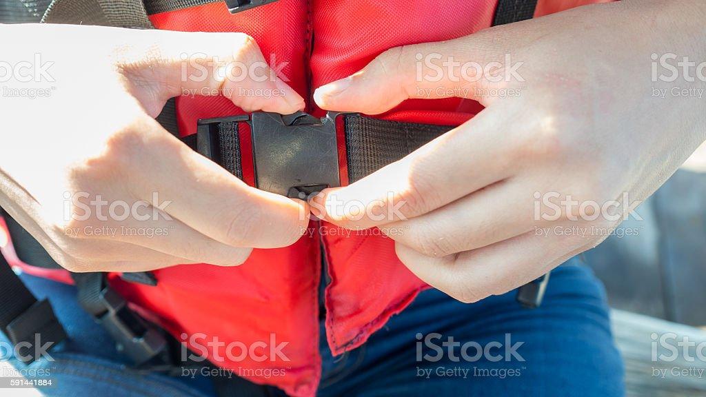 Life jacket strap. stock photo
