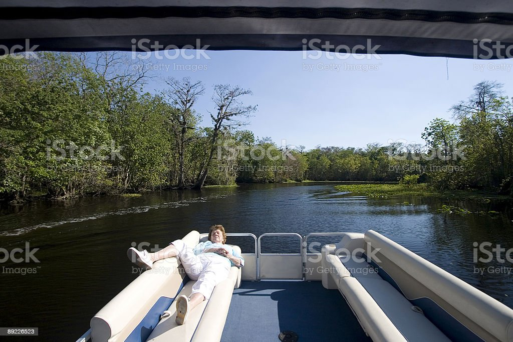 Life on a Pontoon Boat stock photo