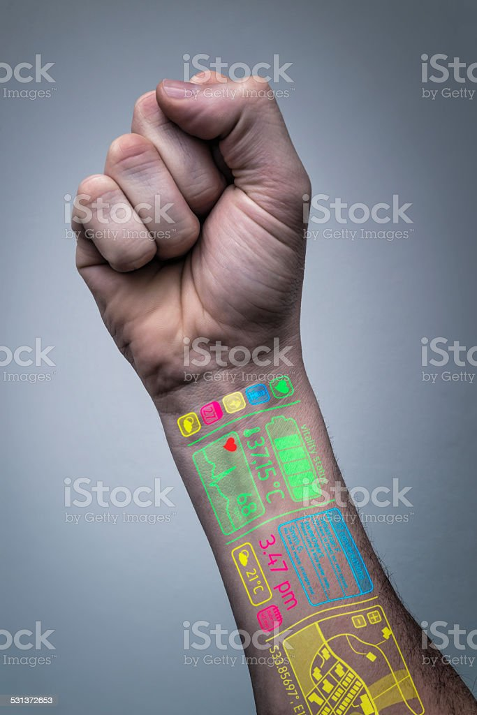 life online - multimedia hand stock photo