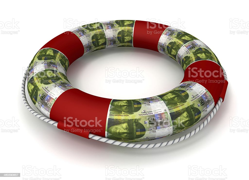 Life preserver covered by Swiss Francs royalty-free stock photo