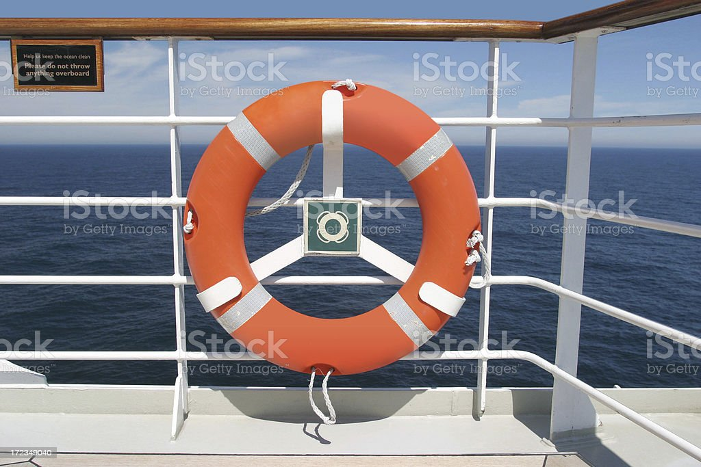 Life Preserver On Boat Deck royalty-free stock photo