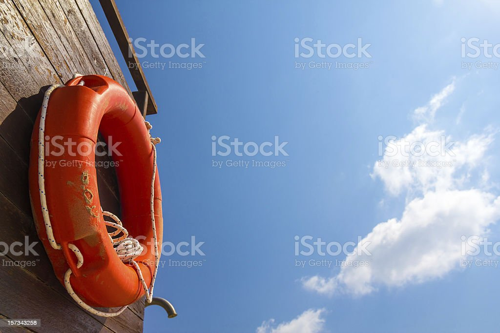 Life preserver ready for action stock photo